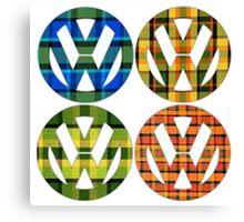 Volkswagen Plaid Patterns VW Logo Westfalia Bus Canvas Print