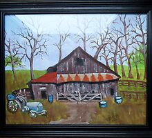 Very old barn with tractor by bevieann