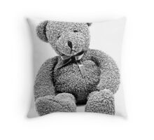 Cuddly Teddy Bear. Vintage Teddy Bear. Antique Teddy Bear. Teddy Bear Engraving. Throw Pillow