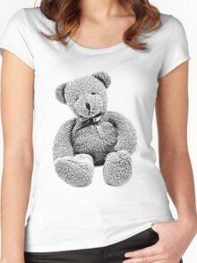 Cuddly Teddy Bear. Vintage Teddy Bear. Antique Teddy Bear. Teddy Bear Engraving. Women's Fitted Scoop T-Shirt