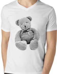 Cuddly Teddy Bear. Vintage Teddy Bear. Antique Teddy Bear. Teddy Bear Engraving. Mens V-Neck T-Shirt