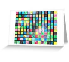 Black Grid Canvas Greeting Card