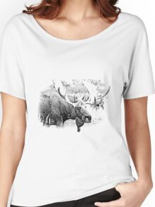 Bull Moose. Wildlife Moose. Moose Antlers. Canadian Moose. Alaskan Moose. Women's Relaxed Fit T-Shirt