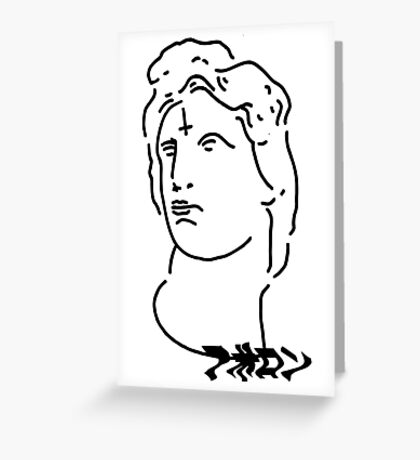 Reverse cross on Apollon mind shirt white Greeting Card