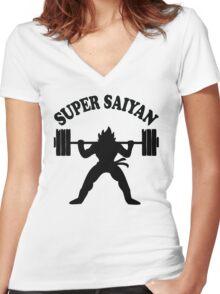 Super Saiyan Women's Fitted V-Neck T-Shirt