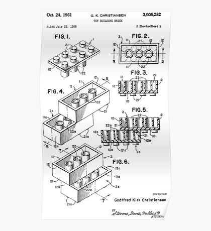 Toy Building Brick Patent  Poster