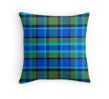 Blue Green Plaid Vintage Volkswagen Westfalia Bus Pattern Throw Pillow