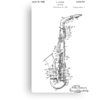 Saxophone Patent Drawing From 1933 Canvas Print