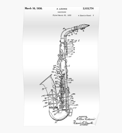 Saxophone Patent Drawing From 1933 Poster