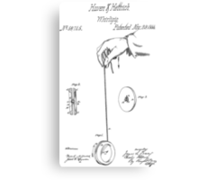 Vintage Yoyo Patent Drawing From 1866 Canvas Print