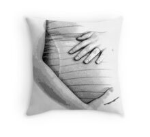 Pregnant Tummy. Expectant Mother Holding Her Precious Baby. Throw Pillow