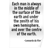 Each man is always in the middle of the surface of the earth and under the zenith of his own hemisphere, and over the centre of the earth. Poster