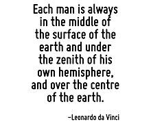 Each man is always in the middle of the surface of the earth and under the zenith of his own hemisphere, and over the centre of the earth. Photographic Print