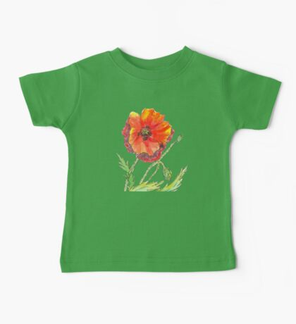 Red Poppy pen and wash Baby Tee