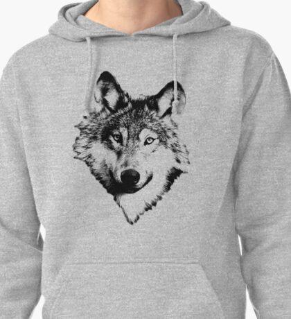 Wise Wolf Face. Animal Prints. Digital Wildlife Engravings. Pullover Hoodie