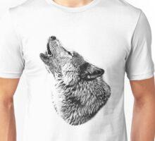Wolf Howling. Digital Wildlife Image. Unisex T-Shirt
