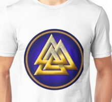 Norse Valknut - Gold and Blue Unisex T-Shirt