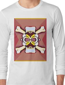 white skull head with mustache and brown background Long Sleeve T-Shirt