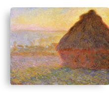 Haystacks, Sunset (1891) by Claude Monet Canvas Print