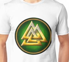 Norse Valknut - Gold and Green Unisex T-Shirt