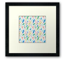 Colorful Boho Watercolor Floral Pattern Framed Print