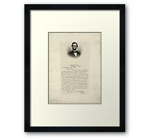 Handwritten Letter from Abraham Lincoln Framed Print