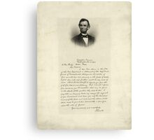 Handwritten Letter from Abraham Lincoln Canvas Print