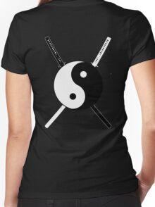 Yin Yang Dual Katana Women's Fitted V-Neck T-Shirt