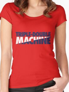 Triple-Double Machine (Navy-White/Navy) Women's Fitted Scoop T-Shirt