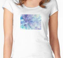 Bubbling Blue Abstract Watercolour Women's Fitted Scoop T-Shirt