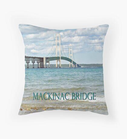 Mackinac Bridge - Michigan - Landscape Photograph Throw Pillow