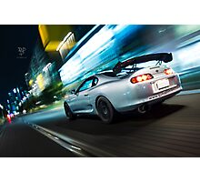 Toyota Supra Rolling Shot at Night Photographic Print