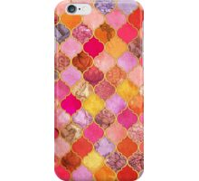 Hot Pink, Gold, Tangerine & Taupe Decorative Moroccan Tile Pattern iPhone Case/Skin