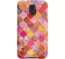 Hot Pink, Gold, Tangerine & Taupe Decorative Moroccan Tile Pattern Samsung Galaxy Case/Skin