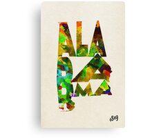 Alabama Typographic Watercolor Map Canvas Print