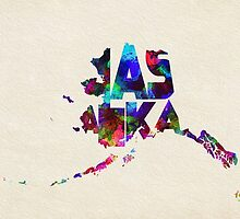 Alaska Typographic Watercolor Map by A. TW