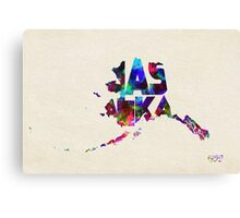 Alaska Typographic Watercolor Map Canvas Print
