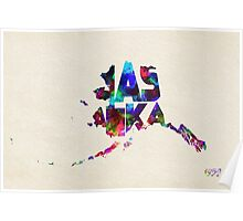 Alaska Typographic Watercolor Map Poster