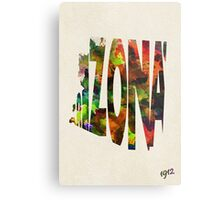 Arizona Typographic Watercolor Map Metal Print