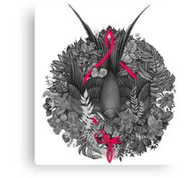 Bird and blossoms | black and grey Canvas Print