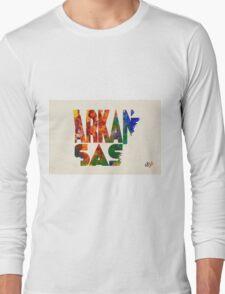Arkansas Typographic Watercolor Map Long Sleeve T-Shirt