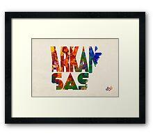 Arkansas Typographic Watercolor Map Framed Print