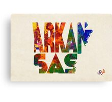 Arkansas Typographic Watercolor Map Canvas Print