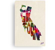 California Typographic Watercolor Map Canvas Print
