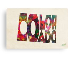 Colorado Typographic Watercolor Map Metal Print