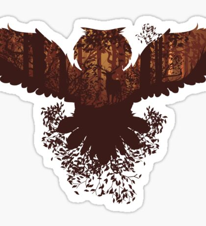 Owl and Autumn Forest Landscape 2 Sticker