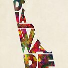 Delaware Typographic Watercolor Map by A. TW