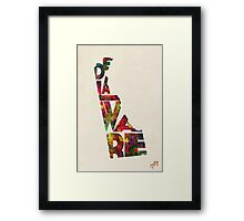 Delaware Typographic Watercolor Map Framed Print