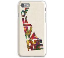 Delaware Typographic Watercolor Map iPhone Case/Skin