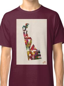 Delaware Typographic Watercolor Map Classic T-Shirt